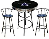 Dallas Cowboys Logo Themed 3 Piece Chrome Metal Finish Bar Table Set with Glass Table Top & 2 Swivel Seat Cowboys Fabric Themed Bar Stools