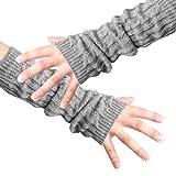Allegra K Men Fingerless Design Thumb Hole Knitted Long Gloves
