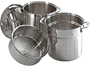 All-Clad E796S364 3-Piece Specialty Stainless Steel Dishwasher Safe Multi Cooker Cookware Set, 12-Quart, Silver