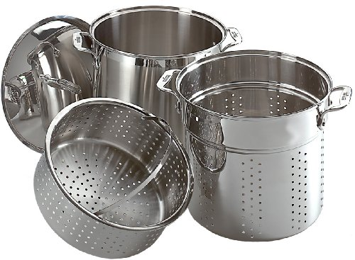 All-Clad E796S364 Specialty Stainless Steel Dishwasher Safe 12-Quart Multi Cooker Cookware Set, 3-Piece, Silver (Tfal 12qt Stock Pot compare prices)