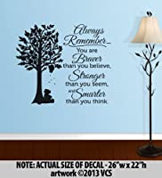 """BRAVER than you believe, STRONGER than you seem, SMARTER than you think"" LARGE Wall Décor Sticker Vinyl Decal - Winnie the Pooh Quote from Vertigo Creative Products"