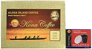 Dark Roast 100% Pure Kona Coffee for K-cup Brewing! Free Pod Adapter and 18 Soft Coffee Pods of Premium Single Estate Kona Coffee