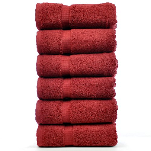 Luxury Hotel & Spa Towel Turkish Cotton (Hand Towel  - Set of 6, Cranberry) (Red Hand Towels compare prices)