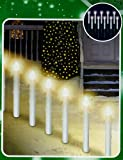 Set of 10 Lighted Candle Christmas Pathway Marker Lawn Stakes - Clear Lights