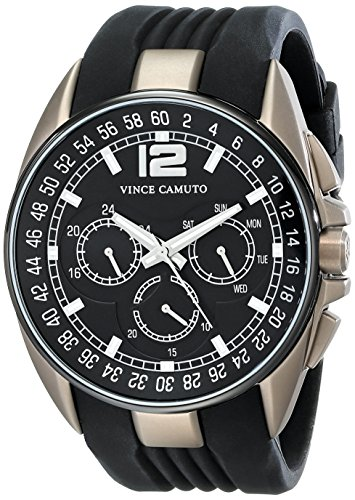 Vince Camuto VC/1052BKKH - Reloj unisex, correa de silicona color negro