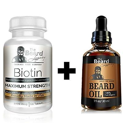 BEARD GROWTH FORMULA - Biotin #1 Beard Growth Supplement + Beard Oil Unscented Combo Pack. Fastest Hair Growth & Smooth, Healthy Facial Hair & Skin by The Beard Legacy.