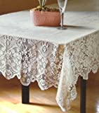 Table Sense Lace Fabric Tablecloth in Ivory, 60x120 Oblong (Rectangle)