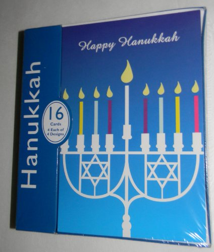 Happy Hanukkah Box of 16 Cards (4 Each of 4 Designs)
