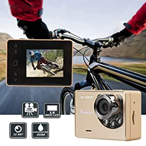 Sunco® DREAM 1 HD 1080p 12MP Waterproof Wide-Angle Sport Camcorder Touch Key With 1.5 -inch LCD And Night Lights (Champagne)
