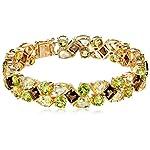 Sterling Silver Gemstones Bracelet, 7.25″