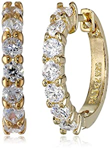 18k Yellow-Gold Plated Sterling Silver and Cubic Zirconia Hoop Earrings by PAJ, Inc
