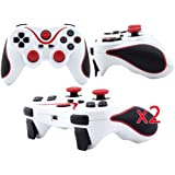 For Sony Playstation III PS3 Wireless Bluetooth Controller for PS3 (2 Pack, White-Red) (FBA)
