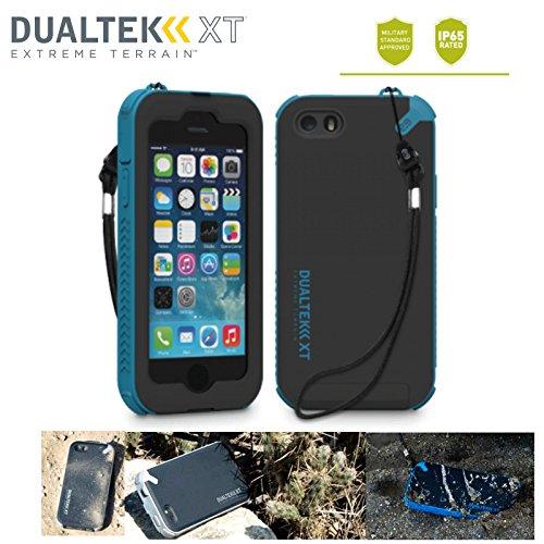 防水規格IP65クリア! 米軍MIL規格準拠 指紋認証機能対応! ストラップ付属(ストラップ取付可) 日本正規代理店品 防水 防塵 耐衝撃 ケース PureGear DualTek XT iPhone5 / iPhone5S au docomo SoftBank アイフォン5 アイフォン5S ケース (ブラック/ブルー)