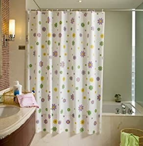 Purple Green Yellow Flowers PEVA White Shower Curtain Water Resi