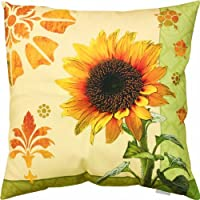 Manual Woodworkers & Weavers Climaweave Indoor/Outdoor Square Decorative Throw Pillow, 18-Inch, Garden Sunflower by Manual Woodworkers Bedding/Bath