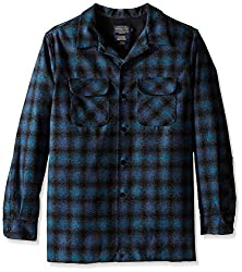 Pendleton Men's Fitted Board Shirt, Blue/Black Ombre, LG