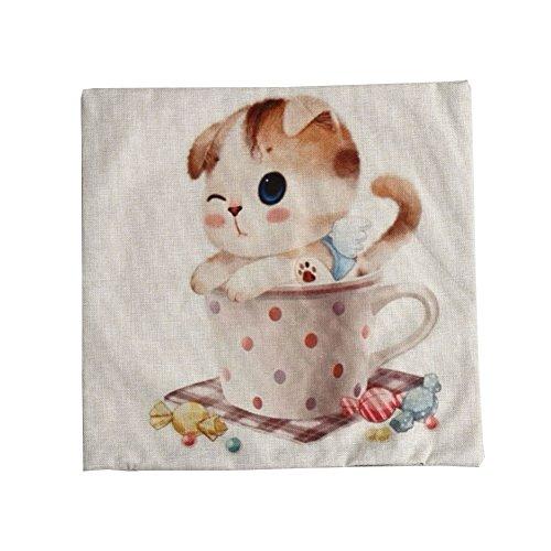 T'aimer Baumwolle Leinen Platz Dekorative Sofa Kissenbezug Kissenhülle Kissenüberzug 45 x 45cm - Cartoon süße Koch Katze Kätzchen in Polka Punkte Tasse Süßigkeiten (Beige)