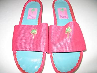 Lilly Pulitzer Slipper Sandal Shoes Canvas & Leather Hot Pink Size 6.5m
