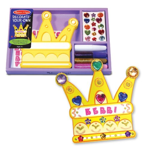 Melissa and Doug Decorate-Your-Own Wooden Crown Name Plaque - 1