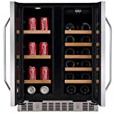 edgestar 24 inch built in wine and beverage cooler with french doors