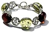 Sterling Silver Cherry-Caribbean Amber Vintage-Style Bracelet