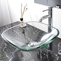 Bathroom Tempered Glass Vessel Sink Natural Clear Square Shape Transparent Basin