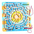 B.Y SELF Children Round Wooden Puzzle Magnet Beads Slot Maze Board Game Eduactional Handcraft Toys-Square