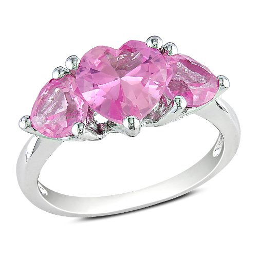 Sterling Silver 4 1/5 CT TGW Created Pink Sapphire Fashion Ring