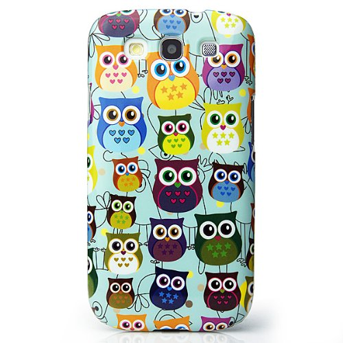 CaseiLike®, S03C3300-Baby Blue, Mutil Owl Graphic, Snap-on custodia rigida back cover per Samsung Galaxy S3 S 3 S III SIII i9300 con Screen Protector