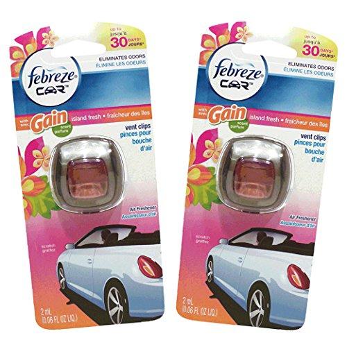 Febreze Car Vent Clips Air Freshener And Odor Eliminator, Gain Island Fresh - 2 Pieces front-161874