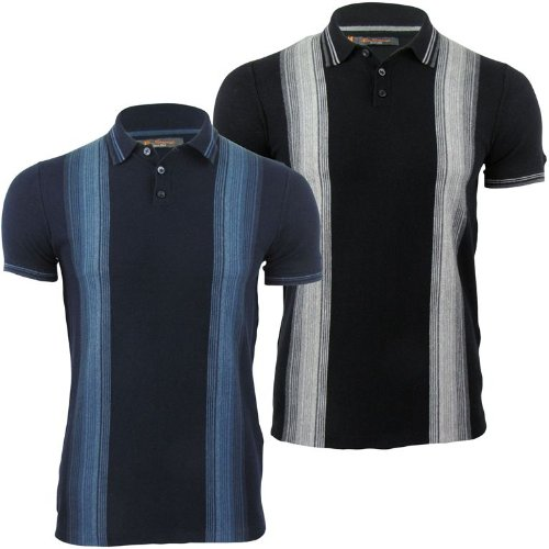 Ben Sherman Mens Vertical Stripe Knitted Polo T-Shirt