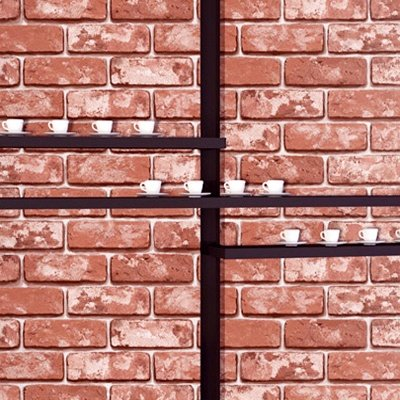 DECOWALL, HWP-21457 Red Brick Effect Self-Adhesive Wallpaper (Sticky Back) (1) 50cm x 1m)