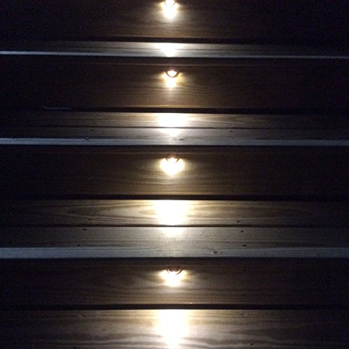 "QACA Pack of 10 LED Stair Light Low Voltage Waterproof IP65 Outdoor Φ1.38"" Wood Recessed Warm White LED Deck Lighting Yard Garden Patio Step Landscape Pathway Decor Lamp, Bronze"