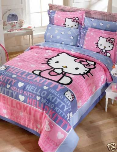 Hello Kitty Smile Girls Pink Comforter Bedding Set Twin 6pcs