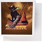 3dRose Greeting Cards, Vintage Halloween Black Cat, Set of 6 (gc_6190_1)