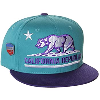 California Republic Flat Bill Vintage Style Snapback Hat Cap