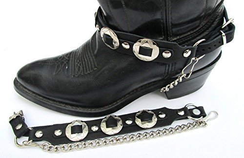 Western Biker Boot Chains Black Leather with Triple Nickel Conchos by Dangerous Threads