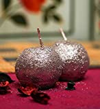 Blackberry Overseas Set Of 2 Decorative Ball Shaped Sparkle Pillar Candle
