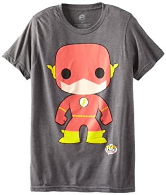 DC Comics Men's Funko Flash Character Tee, Charcoal, XX-Large