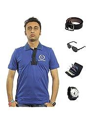 Garushi Blue T-Shirt With Watch Belt Sunglasses Cardholder - B00YMLH45W