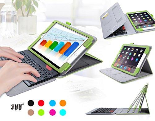iPad Air/iPad Air 2ケース,FYY ® 内包軽量型 脱着式Bluetoothワイヤレスキーボード付きiPad Air/iPad Air 2 (iPad 第5/6世代)用ケース  マグネット開閉式 スタンド機能付き 高級PU レザーケース ペンホルダ/オートスリープ機能付き カードスロット付き ·  リストバンド付 全6色グリーン