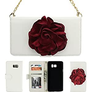 Note 5 Case,CASY MALL Flower Design Handbag Case Synthetic Leather Wallet Cover with Wrist Strap for Galaxy Note 5 White
