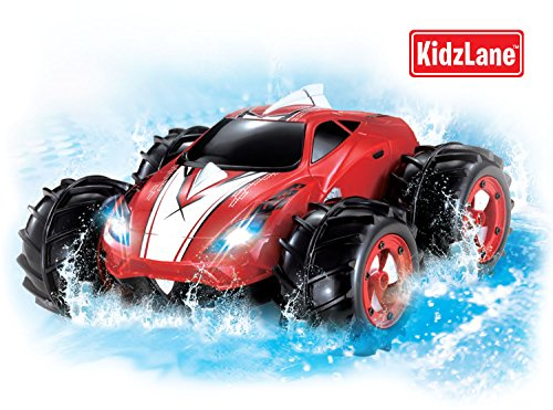Powerful Amphibious Remote Control Car, Drives On Land & Water, 200 Ft. Control Range, 360 Degree Spins, Led Headlights (Colors May Vary) back-128096