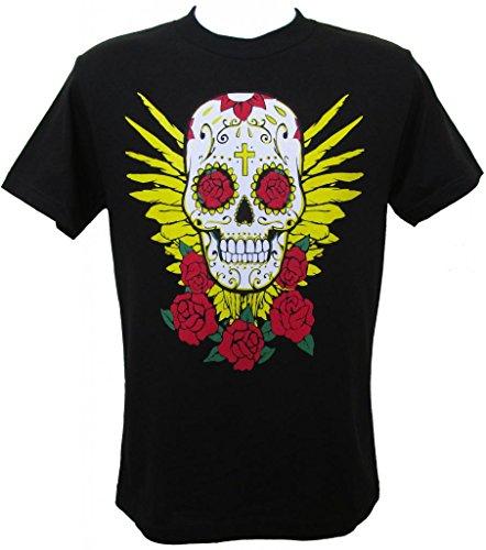 Viva Mexico Men'S Sugar Skull Dia De Los Muertos Day Of The Dead Mexican Calavera T-Shirt Large Black