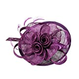 Pandahall,Purpura oscura tocado elegante Reino Unido para las bodas, flores de organza con Pluma, 120mm