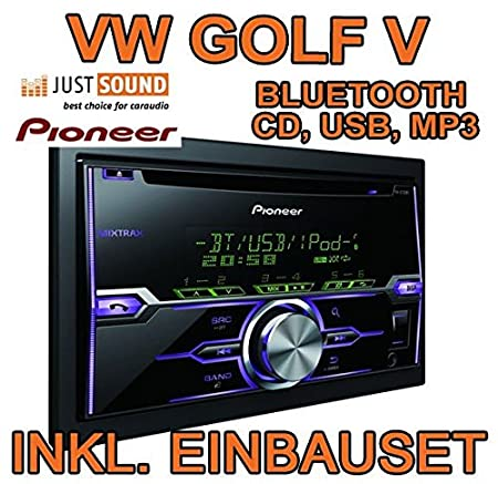 VW Golf 5 / Plus / Variant / Jetta 5 - Pioneer FH-X720BT - BLUETOOTH, USB, MP3 - Autoradio Einbauset