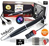 Premium New & Improved 1080p HD Hidden Camera Spy Pen BUNDLE 16GB SD Micro Card + USB card Reader + 5 INK FILLS +updated battery - Record Executive Multifunction DVR. Perfect Gift - Easy to Use