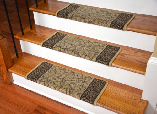 Dean Modern DIY Bullnose Wraparound Non-Skid Carpet Stair Treads - Garden Path Gold and Brown