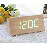 EiioX Fashion Bamboo Triangle Wooden Alarm Clock Green LED Digital Wood Alarm Clock Desktop, Temperature Date being Controlled by Touch & Sound USB POWERED