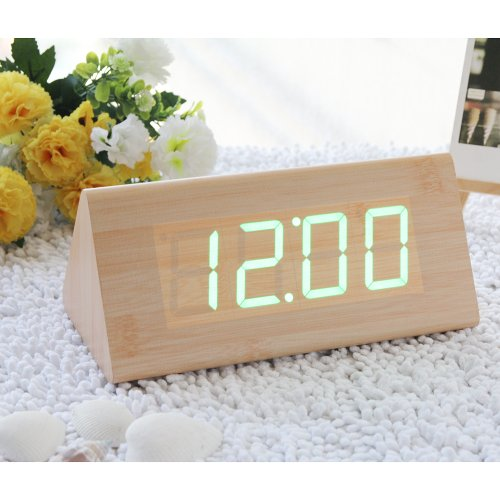 Eiiox Fashion Bamboo Triangle Wooden Alarm Clock Green Led Digital Wood Alarm Clock Desktop, Temperature Date Being Controlled By Touch & Sound Usb Powered front-748008